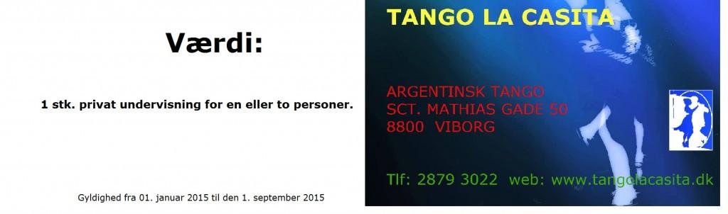 Gavekort til privat undervisning på Tango La Casita